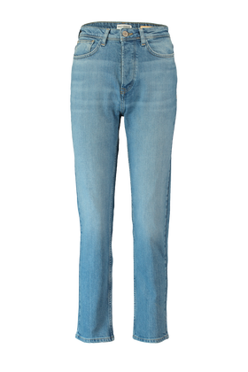 High waist jeans met straight fit