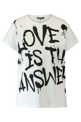 T-shirt met 'Love is the answer' tekst