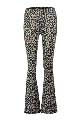 Flared broek met all over luipaardprint